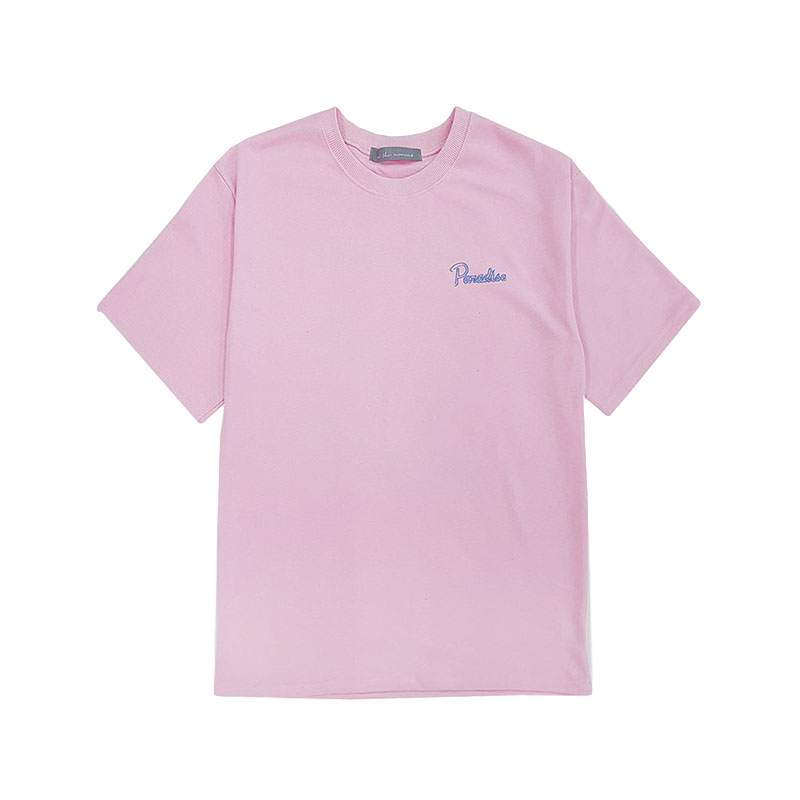 [AT THE MOMENT] Beer Print Half T-shirt (PINK)