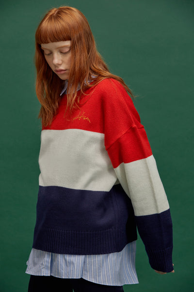 [NOYCOMMON] PEACE BLOCK KNIT RD