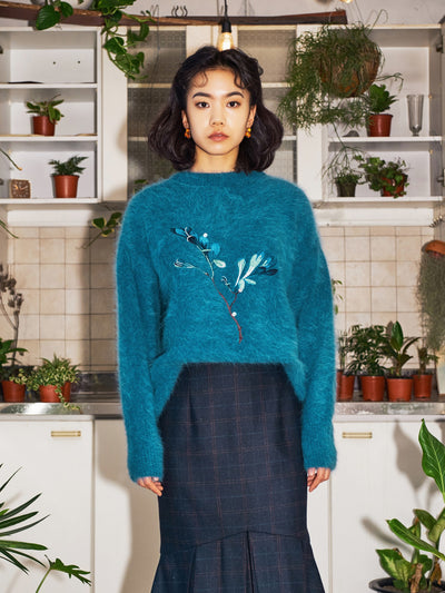 [OH.L] DAISY PATTERN COLOR MIX KNIT (OCEAN BLUE)