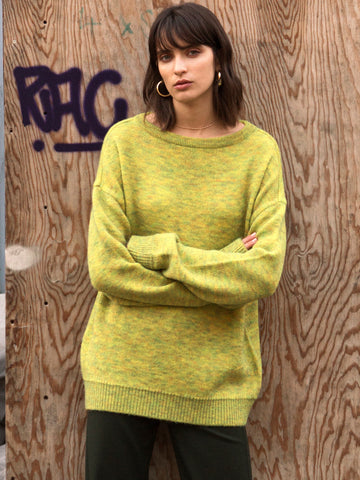[ANDERSSON BELL] TARTAN MOHAIR BOAT NECK SWEATER atb168w (YELLOW)