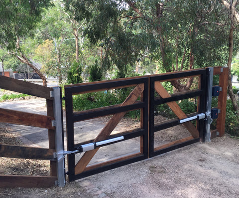 timber clad swing gates