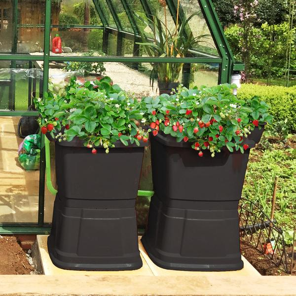 Rainwater Terrace 1 Tier 134L Water Butt With Planters