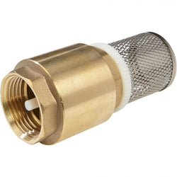 "Brass Foot Valve - 1"" Pump Inlet with Stainless Steel Strainer and one way valve -optional  hosetail"