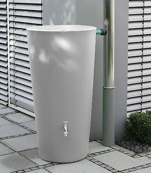 Elegant modern rainwater harvesting rainbowl water butt 210 litre, including tap and diverter - Freeflush Rainwater Harvesting Ltd.