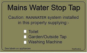 Rainwater Harvesting Adhesive Labels Sticker Pack - Freeflush Rainwater Harvesting Ltd.