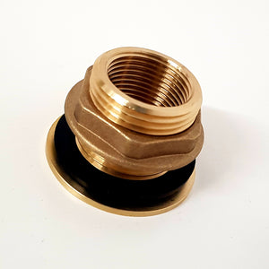 "Brass bulkhead fitting tank connector 1"" male x 3/4"" female thread - Freeflush Rainwater Harvesting Ltd."