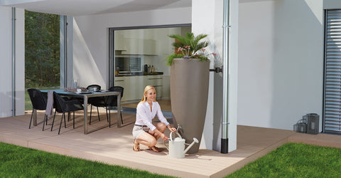 Elegant 300 litre modern rainwater harvesting butt planter including choice of diverter