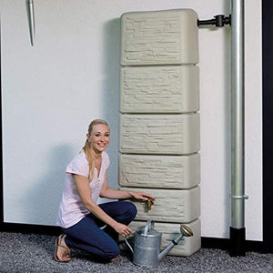 300l slim wall water butt stone or wood effect - free tap