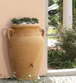 Antique wall (flat back) amphora terracotta water butt - 260  litre capacity