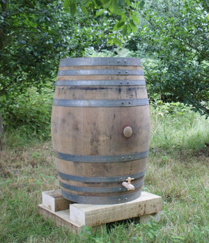 Real Oak Wine Barrel Water Butt 225 Litre - Freeflush Rainwater Harvesting Ltd.