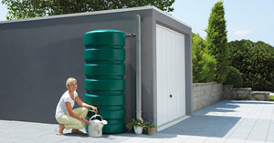 Classic large slim water butt with diverter and tap - 300 and 650 litre capacity - Freeflush Rainwater Harvesting Ltd.