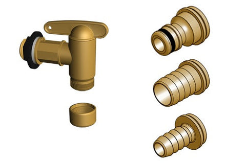 Aqua-Quick brass effect high flow snap lock water butt tap