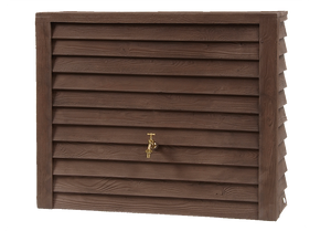 Classic slim 350l wood effect water butt with optional diverter and free tap - Freeflush Rainwater Harvesting Ltd.