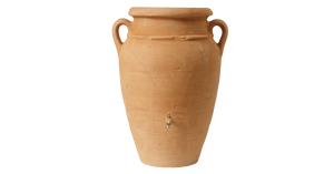 Antique wall (flat back) amphora terracotta water butt - 260  litre capacity - Freeflush Rainwater Harvesting Ltd.