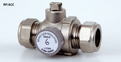 Combined Flow Regulator isolation valve with side access -15 and 22mm