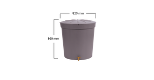 Lanzarote Garphite Grey 300 litre water butt - Freeflush Rainwater Harvesting Ltd.