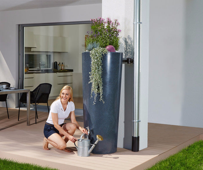Polished stone effect 2 in 1 water tank butt with planter -350 litre