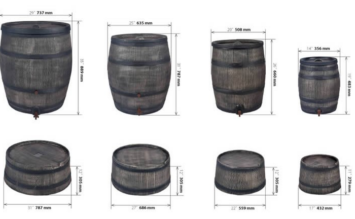 Rain Barrel - Oak Effect - 50L, 120L, 240L, 350L