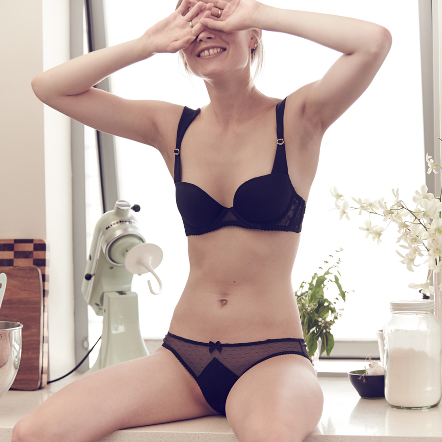 Spotted Tulle Bikini in Black With Monogram