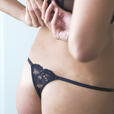 Lacey Thong in Black With Monogram