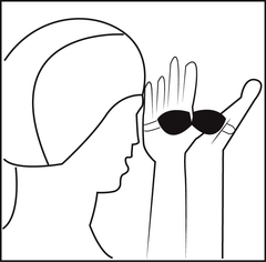 Swim Goggle Care and Instructions, placing swim goggles over your hands