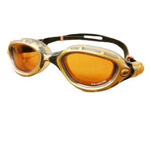 best triathlon swim goggles from zoggs, special edition Predator Flex Polarized  gold with black band swim googles,  cheap swim goggles, triathlon goggles