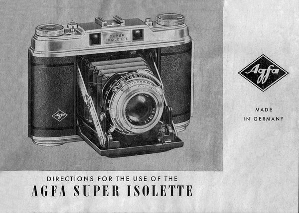 Agfa Super Isolette, Directions for use. PDF Download! - Agfa- Petrakla Classic Cameras