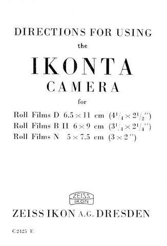 Directions for using the Ikonta camera (520). PDF DOWNLOAD! - Zeiss-Ikon- Petrakla Classic Cameras