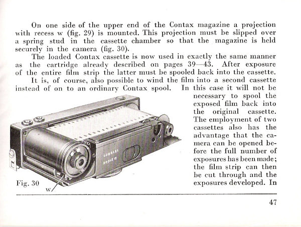 Instructions for Contax I 1935, English, PDF DOWNLOAD! - Zeiss-Ikon- Petrakla Classic Cameras