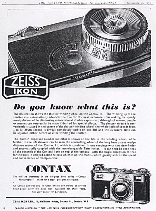 Contax ad: Do you know what this is? - Zeiss-Ikon- Petrakla Classic Cameras