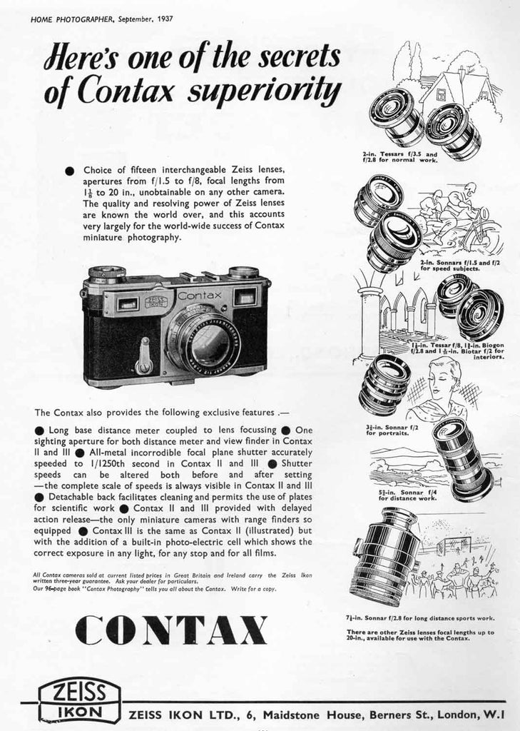 Contax ad: Here's one of the secrets.... - Zeiss-Ikon- Petrakla Classic Cameras