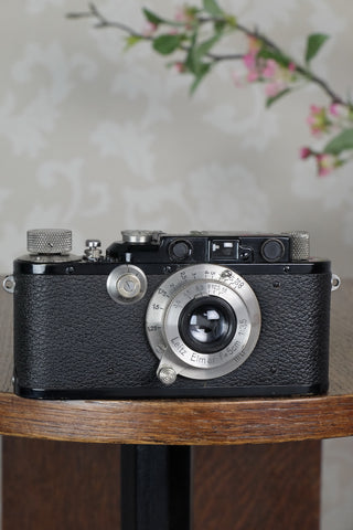 SUPERB! 1936 Black Leitz Leica III with Nickel Elmar lens, CLA'd, Freshly Serviced!
