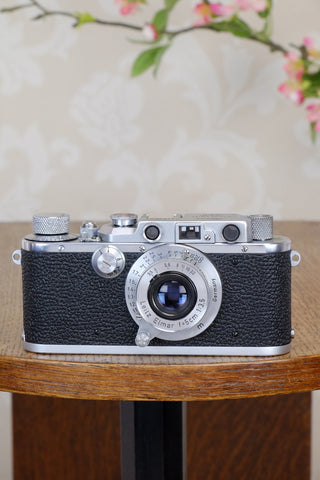 Superb! 1934 Leitz Leica III with 3.5/50mm Leitz Elmar lens, CLA'd, Freshly Serviced!