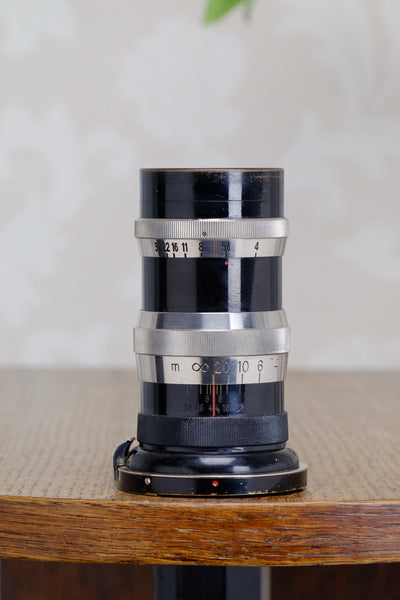 1932 CARL ZEISS Black Lacquer & Nickel 135mm Sonnar lens for Contax I - Carl Zeiss Jena- Petrakla Classic Cameras
