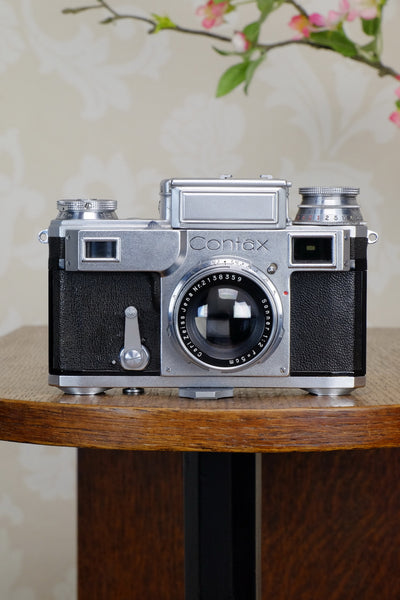 SUPERB! 1942 Zeiss Ikon Contax Camera with Zeiss 2.0/50mm lens, CLA'd, Freshly Serviced! - Zeiss-Ikon- Petrakla Classic Cameras
