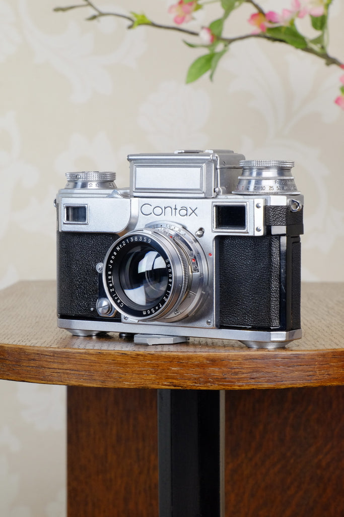 SUPERB! 1942 Zeiss Ikon Contax Camera with Zeiss 2.0/50mm lens, CLA'd, Freshly Serviced!