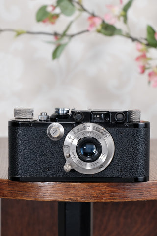 SUPERB! 1932 Black Leitz Leica III with Nickel Elmar lens,  CLA'd, Freshly Serviced! - Leitz- Petrakla Classic Cameras