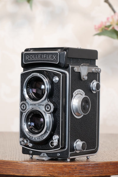 Excellent 1951 Rolleiflex with coated Zeiss Opton Tessar and original case, Freshly Serviced, CLA'd!
