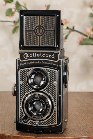 1934 Art-Deco Nickel-plated Rolleicord CLA'd, Freshly Serviced! - Frank & Heidecke- Petrakla Classic Cameras