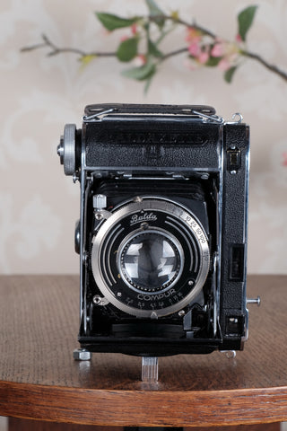 Rare! Superb!1936 Balda Baldaxette, Coupled Rangefinder 6x4.5 Coupled Rangefinder camera with leather case, Freshly Serviced!, CLA'd