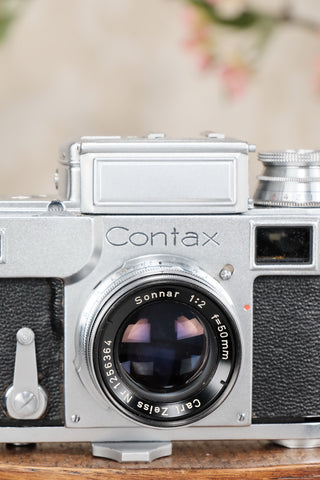 Superb! 1950's Carl Zeiss 2.0/50mm Coated Contax Sonnar Lens - Carl Zeiss Jena- Petrakla Classic Cameras