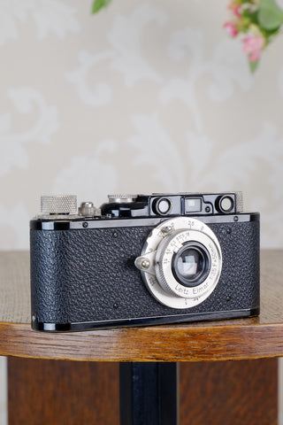 SUPERB! 1932 BLACK LEITZ LEICA II with Nickel Elmar lens. CLA'd, FRESHLY SERVICED!