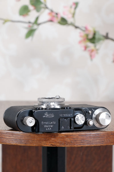 SUPERB! 1935 BLACK LEITZ LEICA II with Nickel lens and an original case, Freshly Serviced CLA'd! - Leitz- Petrakla Classic Cameras