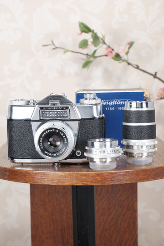 1959-1962 Voigtlander Bessamatic 35mm SLR Camera, with 3 lenses. - Voigtlander- Petrakla Classic Cameras