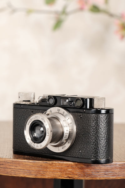 Superb! 1932 BLACK LEITZ LEICA II with nickel elmar lens, CLA'd, Freshly Serviced! - Leitz- Petrakla Classic Cameras