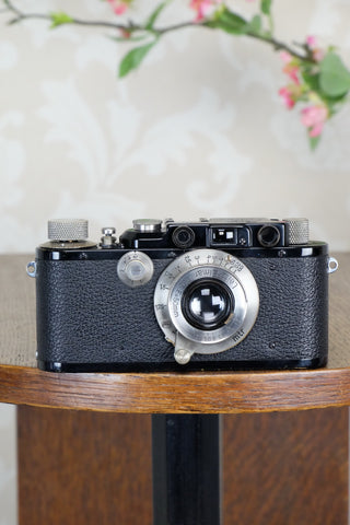 SUPERB! 1931 Black Leitz Leica III with Nickel Elmar lens,  CLA'd, Freshly Serviced! - Leitz- Petrakla Classic Cameras