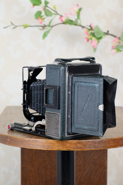 1933 Voigtlander Bergheil - The rare GREEN Luxus version, Heliar lens & 6x9 120 roll-film back. CLA'd. Freshly serviced!