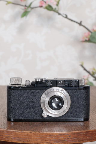 SUPERB! 1935 BLACK LEITZ LEICA II with Nickel lens and an original case, Freshly Serviced CLA'd!