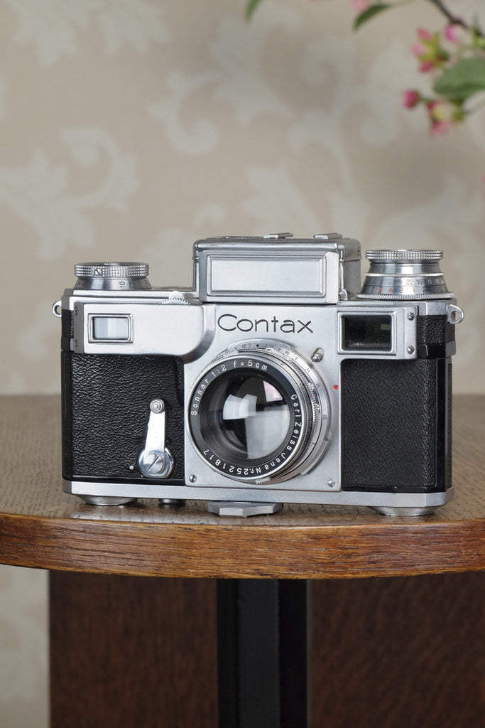 SUPERB! 1937 Zeiss Ikon Contax, 35mm coupled rangefinder, with Sonnar lens, CLA'd, Freshly Serviced! - Zeiss-Ikon- Petrakla Classic Cameras