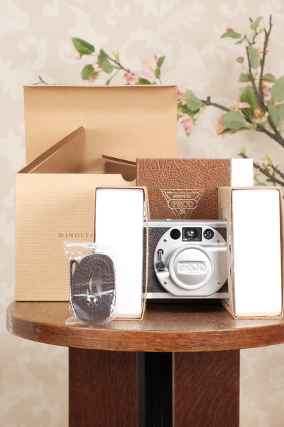MINT! Minolta 35mm Prod 20's Cult Camera With Original Box, strap, cap & instructions - Minolta- Petrakla Classic Cameras